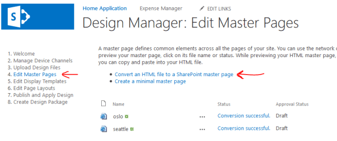 Convert an HTML file to a SharePoint master page