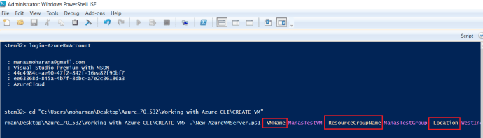 Executing Powershell Script to create new VM