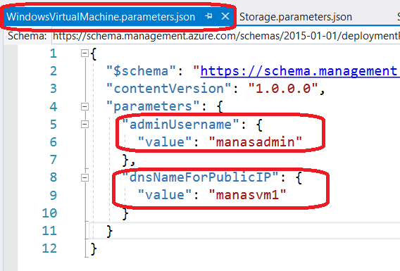 Set parameters in parameter.json file