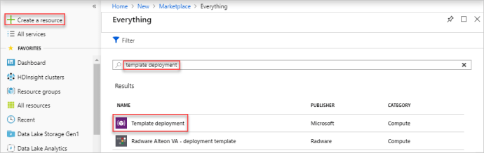 Select Template Deployment