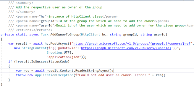 Office 365 - Microsoft Graph - Adding Owner to Office 365 Group