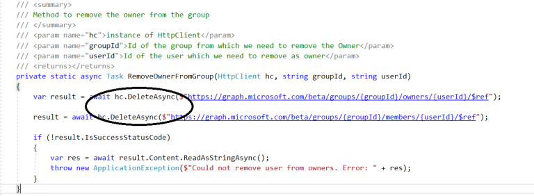 :Office 365 – Microsoft Graph – Removing Owner from Office 365 Group Owners