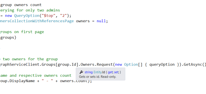 Office 365 - Microsoft Graph - CodeBase to fetch the count of Owner of the groups