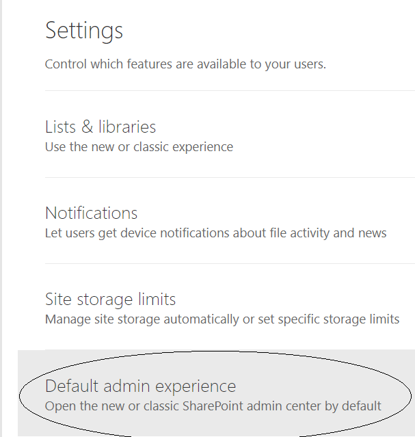 fig3_New SharePoint Admin Center Settings page