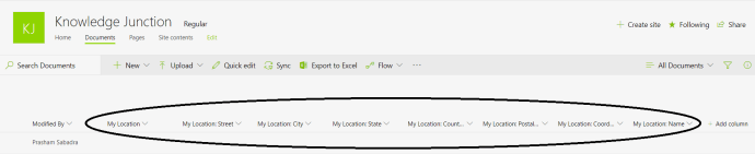 """Office 365 - SharePoint Online - new """"Location"""" type column added to document library. Linked columns """"Street Address"""", """"City"""", """"State"""", """"Country or Region"""" """"Postal Code"""", """"Coordinates"""" and """"Name"""" are added."""