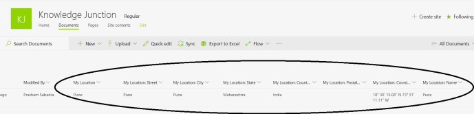 """Office 365 - SharePoint Online - adding new """"Location"""" type column - After associating location data with document"""