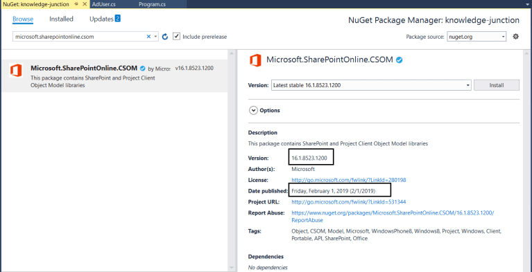 Office 365 – Microsoft announced new version CSOM (Client Side Object Model) for SharePoint Online and Project Online – January 2019
