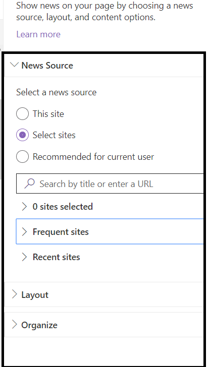 "Office 365 - SharePoint Online - OOB News WP - ""Filter"" option is not available when ""News Source"" is not ""This site"""