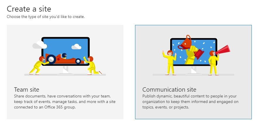 Figure 1- Office 365 - SharePoint Online - Creating a communication site