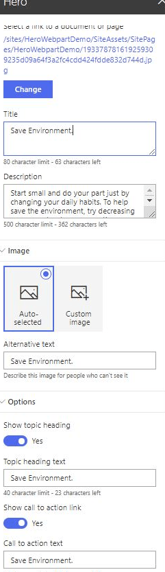 Figure 14 - Office 365 – SharePoint Online – Hero WP – Adding images - links
