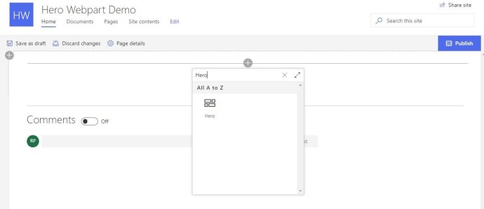 Figure 6 - Office 365 - SharePoint Online -Adding - Updating Hero WP on the page