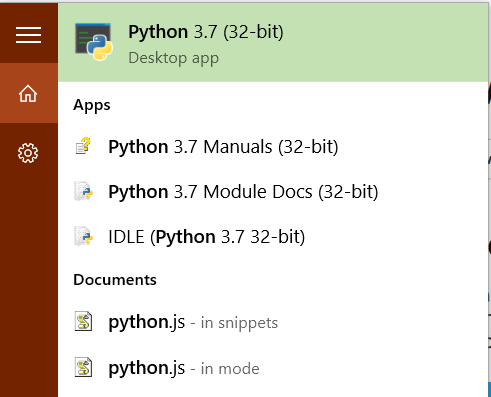 "Python : Once successfully installation searching ""Python"" from ""Search Windows"""