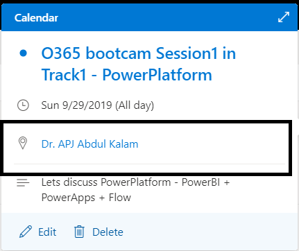 "M365 - Microsoft Graph - Event created in Outlook calendar with room name  ""Dr. APJ Abdul Kalam"""