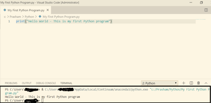 Python program output in Terminal Window of Visual Studio Code