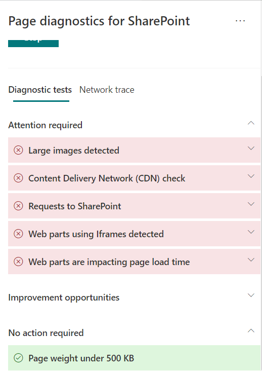 M365 - SharePoint Online - Page diagnostics Tool - Issues listed which requires Attention, Improvements oppurtunities