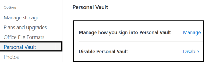 Fig3: M365 - OneDrive - Managing Personal Vault settings also lock the Personal Vault