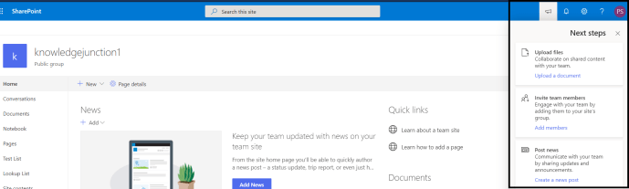 M365 - SharePoint Online - Team Sites - Next Steps panel  currently showing 3 actions based on use of sites and what team members are doing(SharePoint in-service help)
