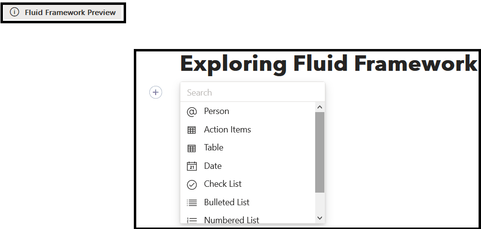 M365 - Fluid Framework - Various options available to insert in new crated empty file