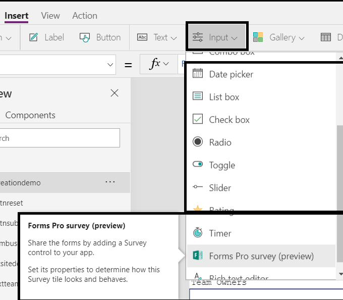 Power Platform - Power Apps - Blank canvas app - Screen element - Other elements / components which we can add on Screen element