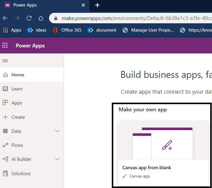 Power Platform - Power Apps - Creating blank canvas app