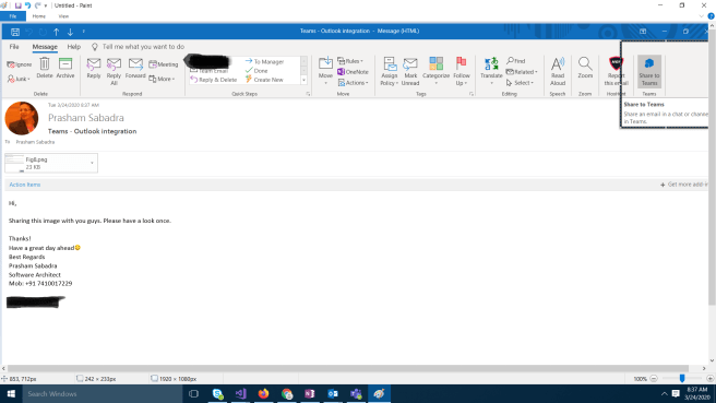 M365 - Teams-Outlook integration - Sharing outlook email to Teams
