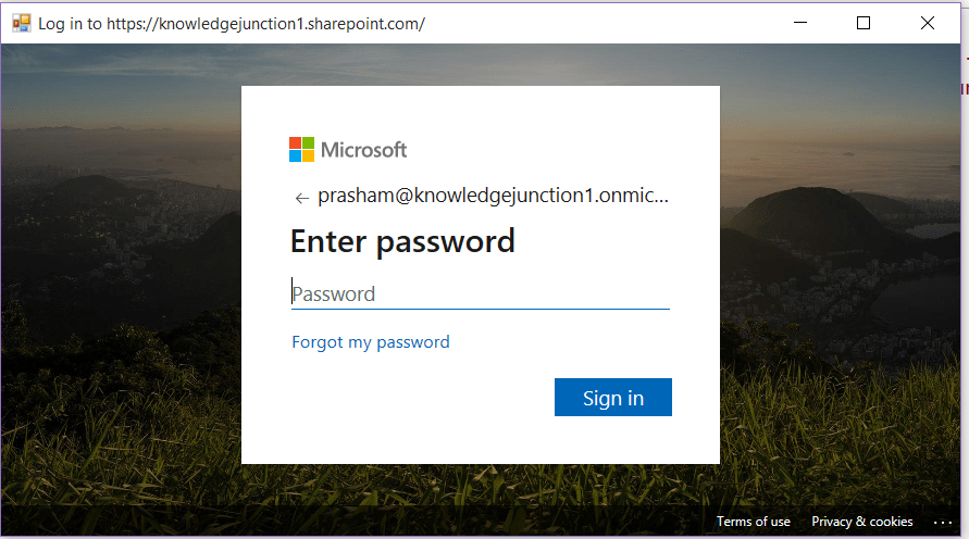 M365 - Prompt for password for connecting to SharePoint site / Office 365