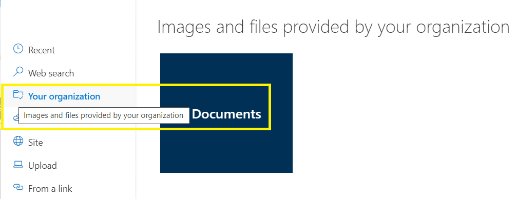 "M365 - SharePoint Online - organization asset library - Document library set as ""organization asset library"" hence ""Your organization"" is an option while choosing the images."