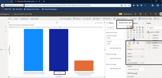 Power Platform - Power BI Service - Report - Showing licenses and there count