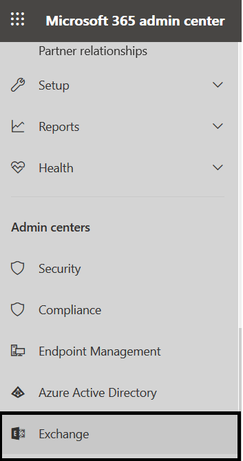 M365 - Admin center >> Exchange - Navigating to Exchange Admin Center