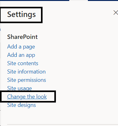 M365 - SharePoint Online - Setting to change the look of site
