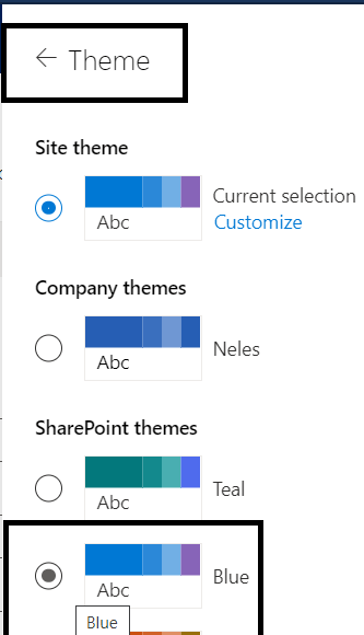 "M365 - SharePoint Online - Setting to change the look of site - Option for changing Theme to ""Blue"""
