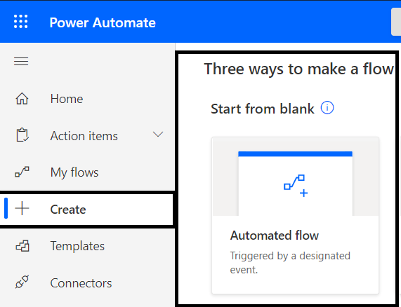 """Microsoft Teams - Creating Power Automate from """"Blank Automated flow"""" template"""