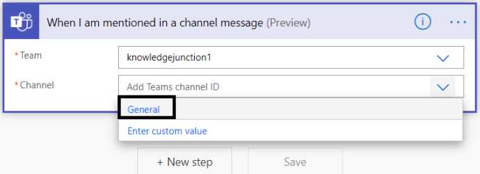 Microsoft Teams - Power Automate - Selecting the channel