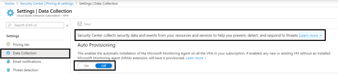 Azure - Security Center - Settings >> Data Collection