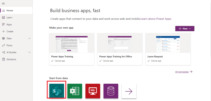 Power Platform – Power Apps – Home Page