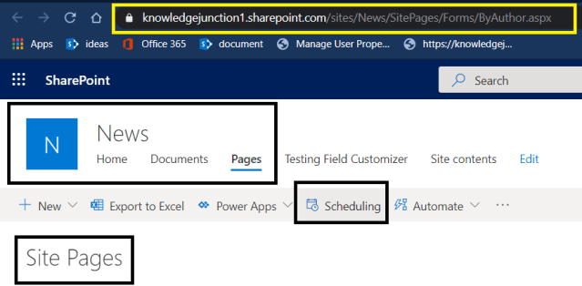 Scheduling for publishing pages