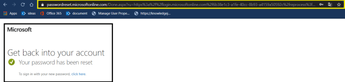 """Azure AD - Azure AD Portal - """"Active Directory Menu Blade"""" page - Password Reset >> Enabled SSPR >> Reset Password - Authentication Method - Email Verification -Done - Successfully able to reset the password"""
