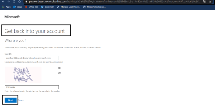 """Azure AD - Azure AD Portal - """"Active Directory Menu Blade"""" page - Password Reset >> Enabled SSPR >> dialog for either entering current password or to option to reset password - """"Forgot my password"""""""