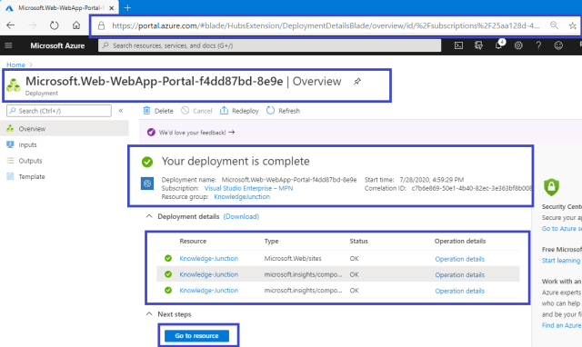 Azure - Deployment completed - new App Service created successfully