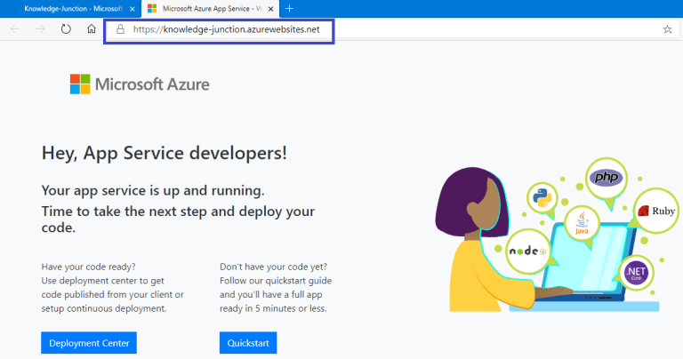 Azure - Browsing newly created App Service
