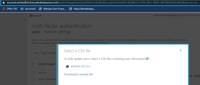"Microsoft 365 - Azure Active Directory admin center - Users dashboard - multi-factor authentication page - ""Select a CSV file"" dialog for updating MFA settings for multiple users at a time"