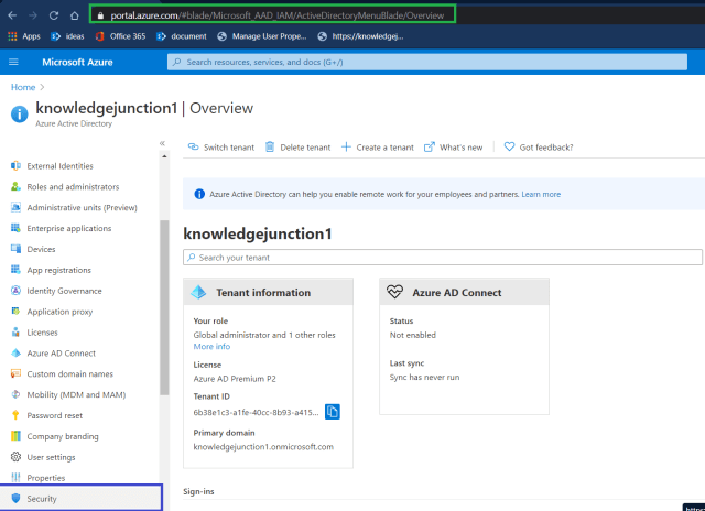 Azure - Azure Active Directory >> Security option
