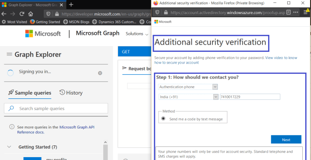 Microsoft Graph Explorer - Signing with user having no admin rights >> Testing Conditional Access policy >> Additional security verification dialog