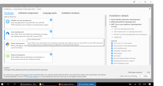 Visual Studio 2019 with Azure development components (Azure SDKs, tools etc.) installed