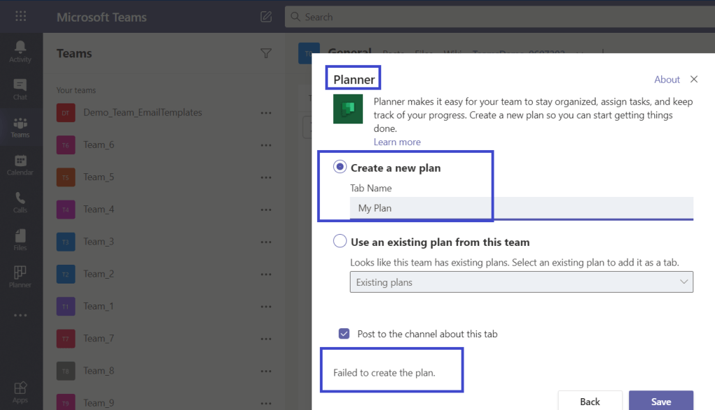"Microsoft Teams : ""Failed to create the plan"" error while adding Planner to Teams which are created using Graph APIs"