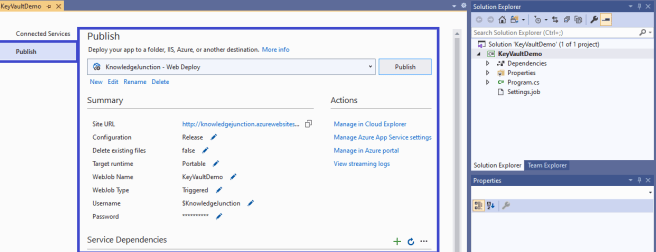 Azure - Publishing .NET Core console application to Azure as Azure Webjobs from Visual Studio 2019 - Summary of the WebJob