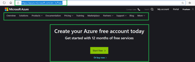 Microsoft Azure - Creating free Azure account to start with Azure services