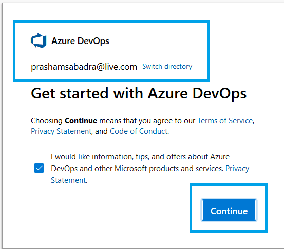 Azure DevOps - Starting with AzureDevOps - signing with Microsoft account