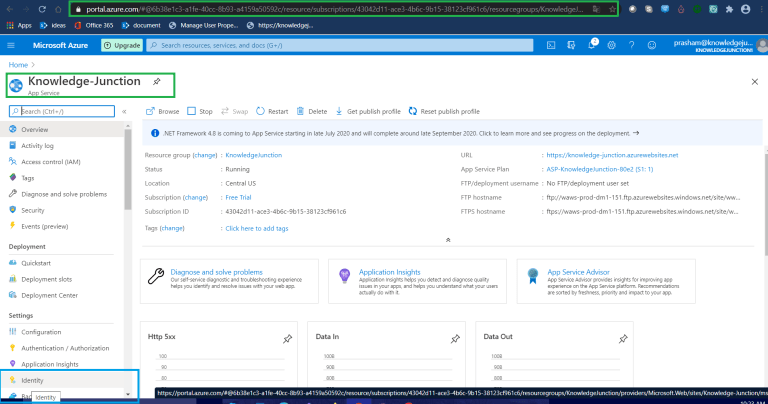 Azure - App Service - Identity option from left side pane
