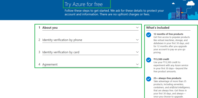 Microsoft Azure - Signing in with Microsoft account for creating free Azure account to start with Azure services - Details required